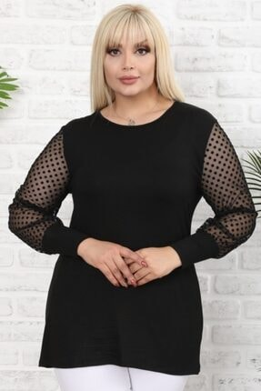Şirin Butik Kadın Siyah Büyük Beden Tül Üzeri Kadife Puantiye Flok Baskılı Viskon Bluz 1