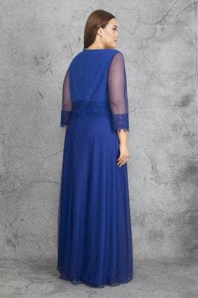 Şans Kadın Saks Dantel Ve Tül Deyatlı Astarlı Simli Abiye Elbise 65N19350 2
