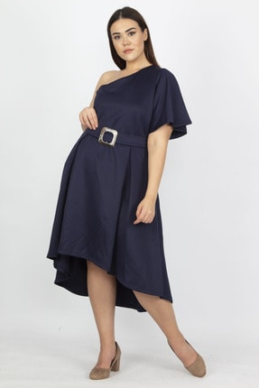Şans Kadın Lacivert Tek Omuzlu Elbise 65N18975 0
