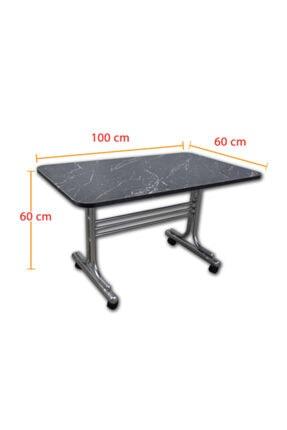 İYİMİ Pratik Tekerlekli Orta Sehpa Metal Ayaklı Masa 60x100 (siyah Mermer) 3
