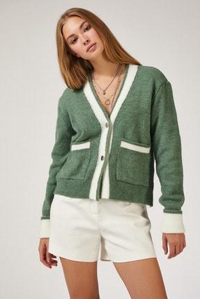 Happiness İst. Kadın Çağla Yeşili Şerit Renkli Cepli Triko Hırka DP00040 1