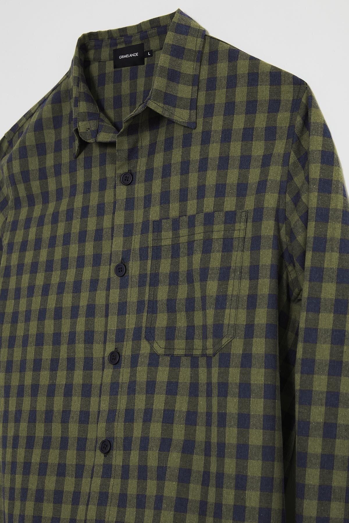 GRIMELANGE BRETT Erkek Yeşil Kareli Regular Gömlek 1