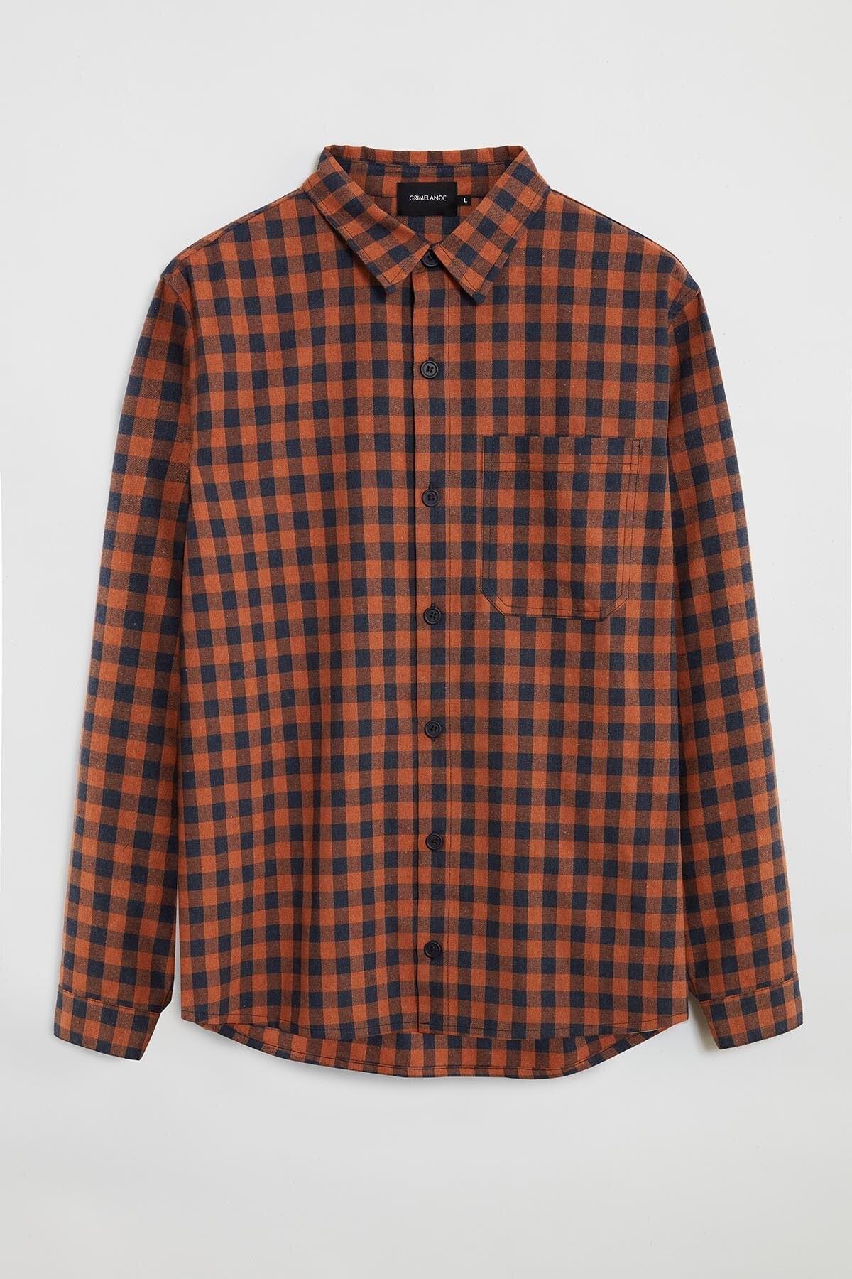 GRIMELANGE BRETT Erkek Turuncu Kareli Regular Gömlek 0