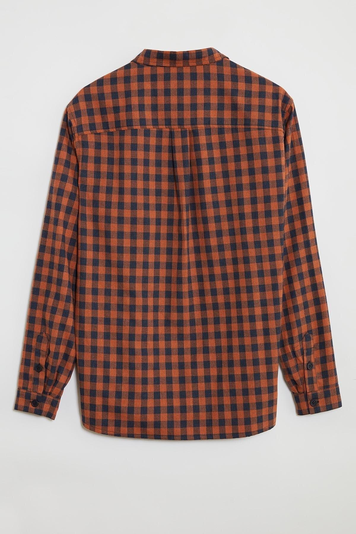 GRIMELANGE BRETT Erkek Turuncu Kareli Regular Gömlek 3
