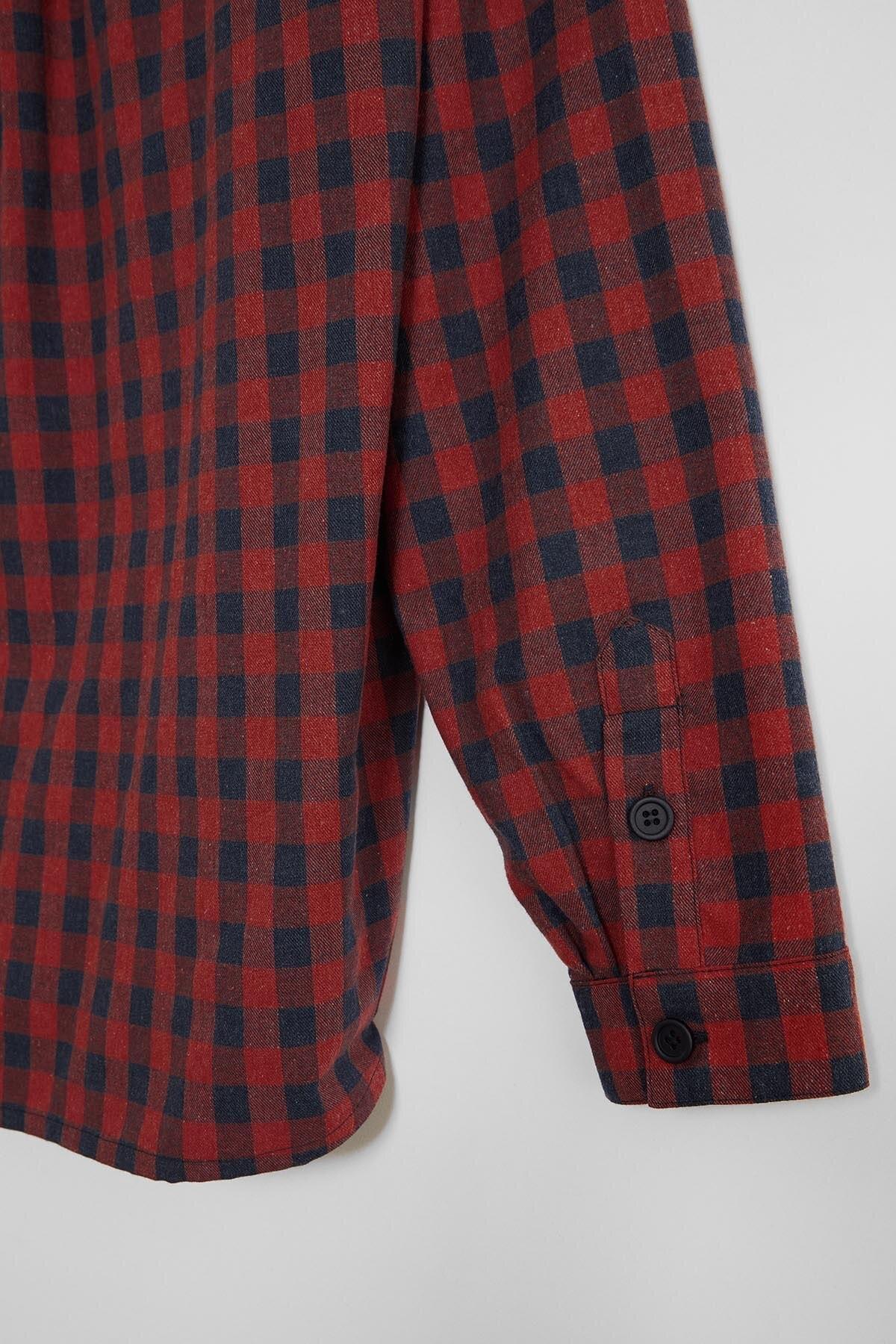 GRIMELANGE BRETT Erkek Kırmızı Kareli Regular Gömlek 2
