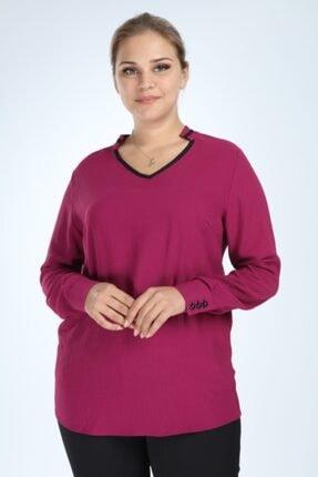 Lir Kadın Mor Büyük Beden Uzun Kol Biyeli V Yaka Bluz 0