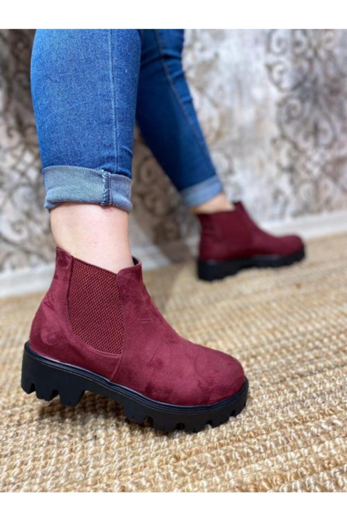 Gazal Shoes Kadın Bordo Kenar Bantlı Bot
