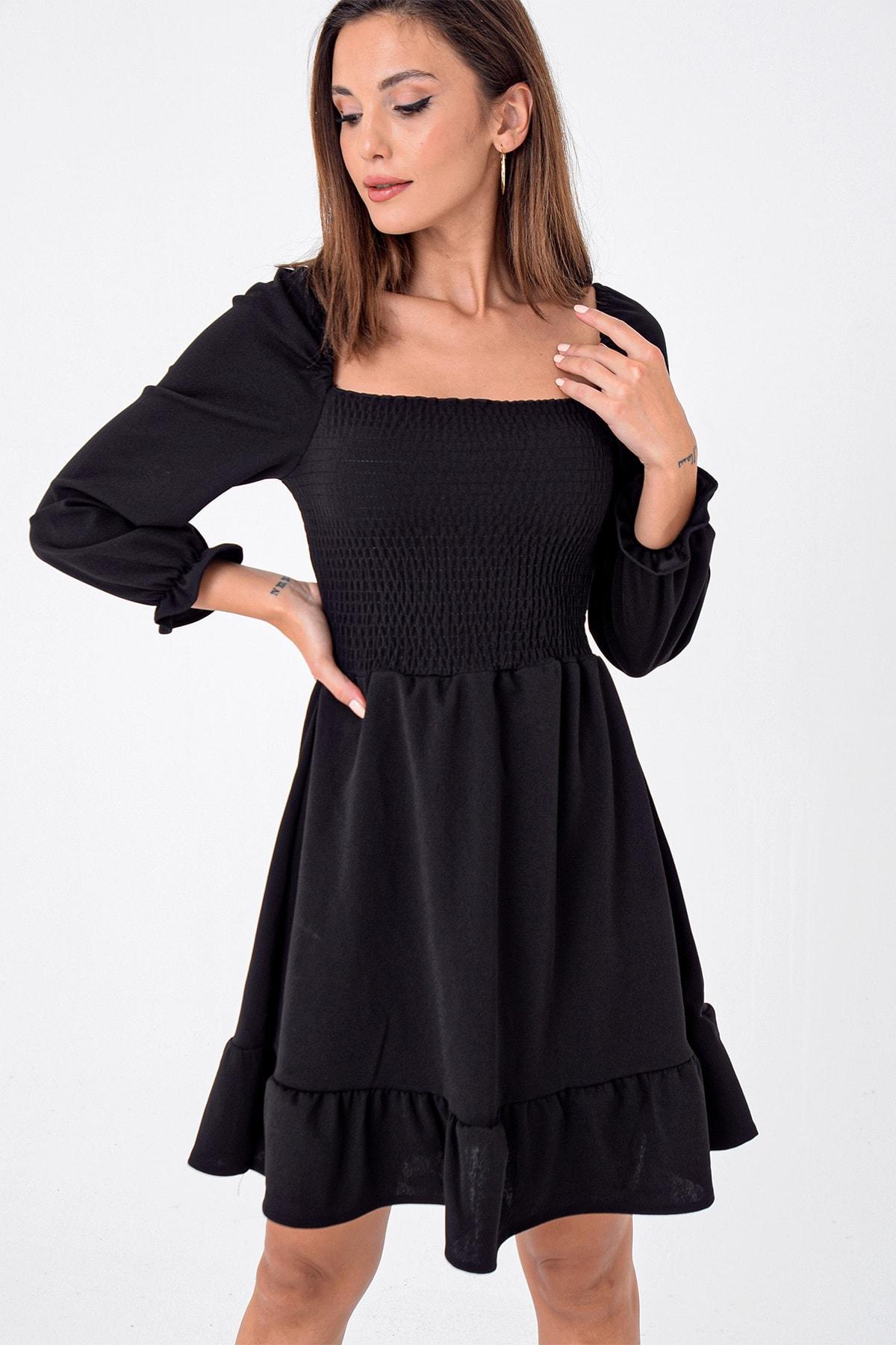 Kadın Siyah Önü Büzgülü Gipeli Volanlı Elbise S-21K3500007