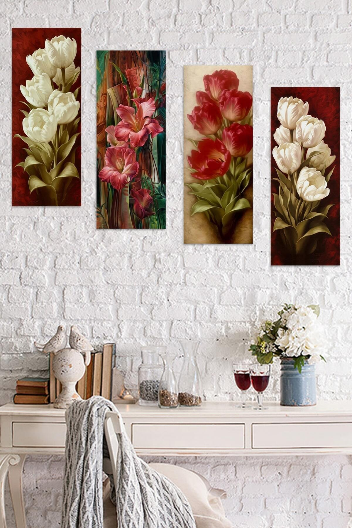 4 Parçalı Çiçekli Mdf Tablo