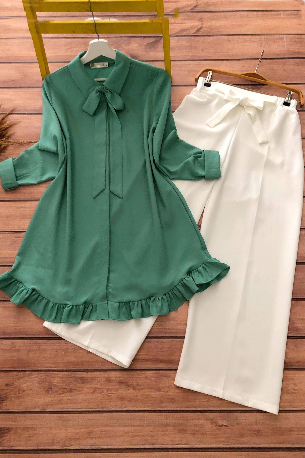 Kadın Yeşil Beyaz Fırfır Detaylı Tunik ve Pantolon