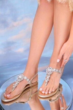 Oblavion Kadın Altın Hakiki Deri Günlük Taşlı Sandalet 4