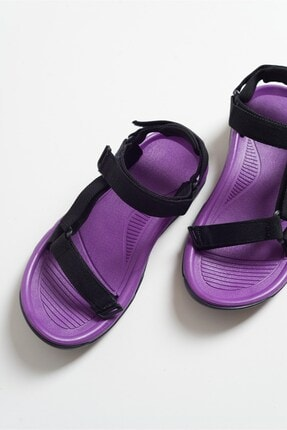 LuviShoes Kadın Mor Tekstil Sandalet S1 1