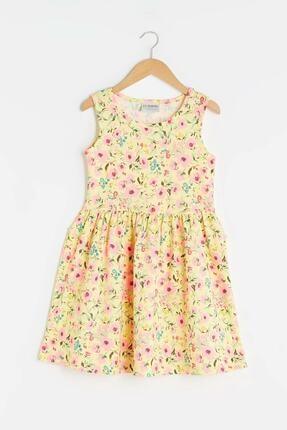 LC Waikiki Kız Çocuk Açık Sarı Baskıl Lu9 Elbise 0