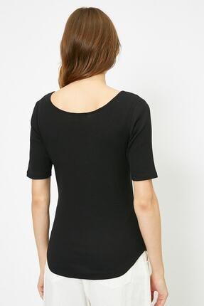 Koton Kadın Siyah T-Shirt 0YAK13390YS 3