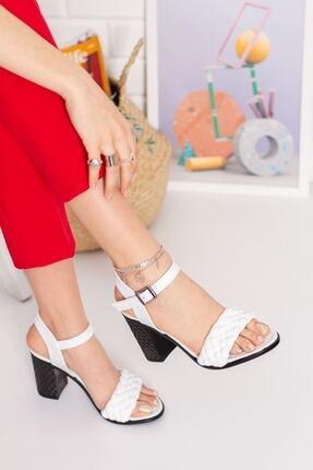 derithy Kadın Beyaz Topuklu Ayakkabı 2