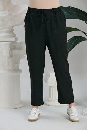 Rmg Kadın Siyah Beli Lastikli Bağcık Detaylı Pantolon 0
