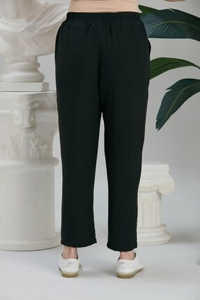 Rmg Kadın Siyah Beli Lastikli Bağcık Detaylı Pantolon 2