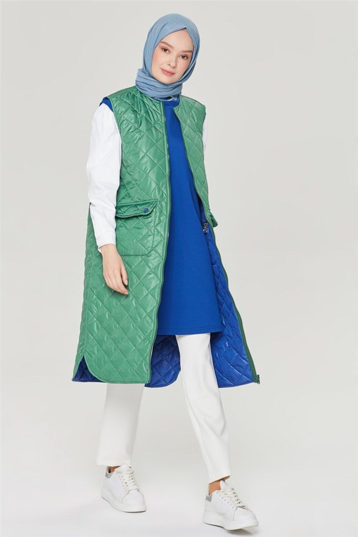 Armine Kadın Saks Yeşil Yelek 21yd4213