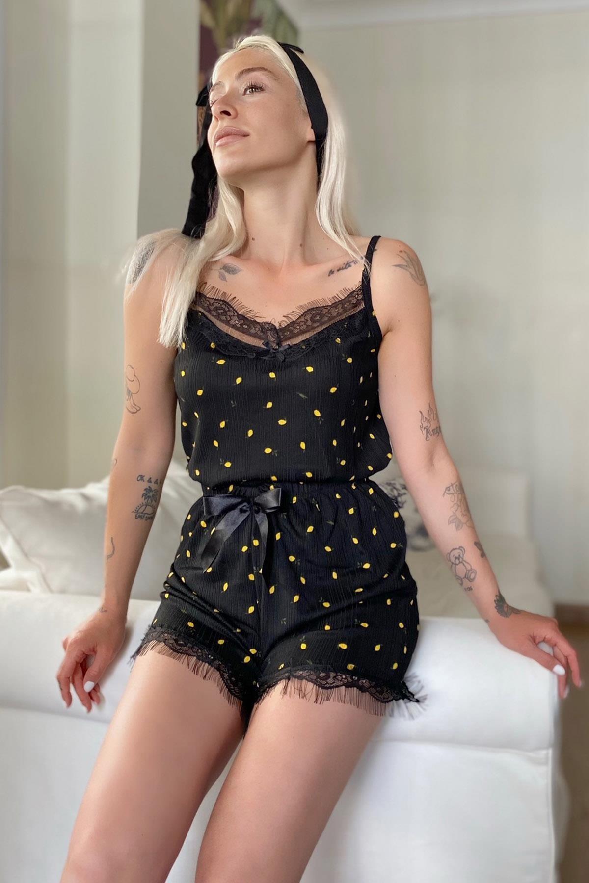 Kadın Mini Limon Pegasus Dantel Detaylı Ip Askı Şortlu Örme Pijama Takımı