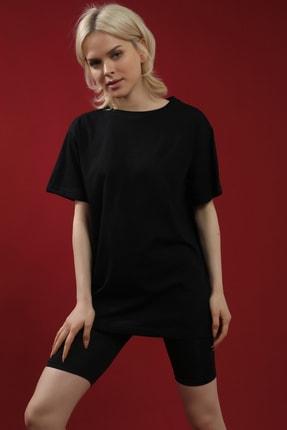 Grenj Fashion Siyah %100 Pamuk Bisiklet Yaka Boyfriend Örme Tshirt 0