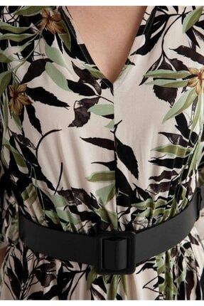 Defacto Kadın Bej V Yaka Kemerli Midi Boy Gömlek Elbise 2