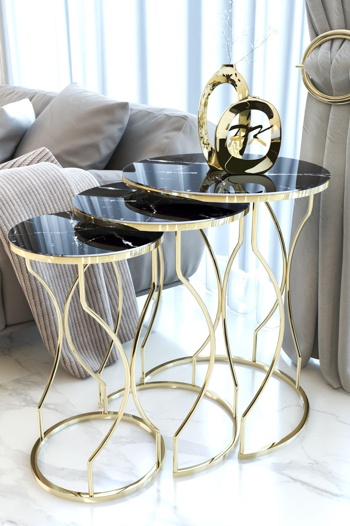 Kırılmaz Camlı Gold Rüya Model Zigon Sehpa Takımı ( Siyah Mermer Desenli)