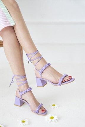 Straswans Kadın Lila Feling Topuklu Küt Burun Bilekten Bağlı Sandalet 0