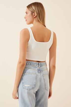 AFC Shop Kadın Siyah Beyaz Askılı 2'li Paket Crop Örme Bluz 4