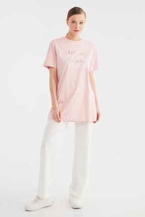 Trendyol Modest Pudra Baskılı Örme Tunik T-shirt TCTSS21TN0410 3