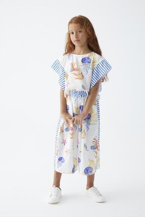 Picture of Kız Çocuk Beyaz Desenli Pantolon