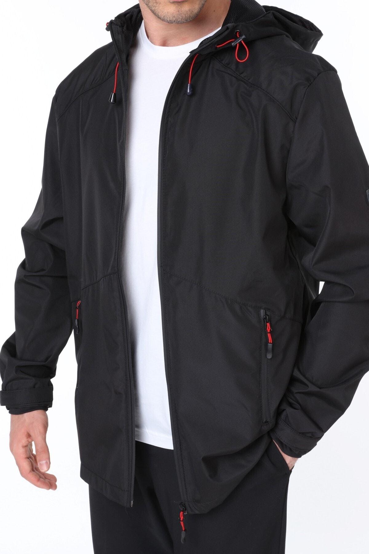 Erkek Rüzgarlık/yağmurluk Outdoor Omuz Detay Mevsimlik Siyah Spor Ceket