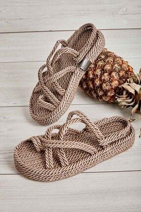 Bambi Vizon Kadın Hasır Sandalet K05787020476 1