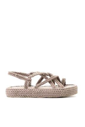 Bambi Vizon Kadın Hasır Sandalet K05787020476 2