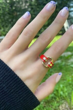 Takıştır Kadın Altın Renk Kırmızı Zincir Figürlü Ayarlanabilir Yüzük 3