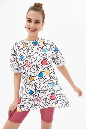 Pattaya Kadın Yırtmaçlı Oversize Kısa Kollu Tişört P21s201-2121 0