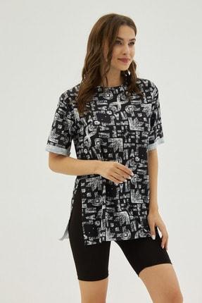 Pattaya Kadın Siyah Desenli Yırtmaçlı Oversize Kısa Kollu Tişört P21s201-2121 1