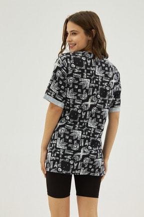 Pattaya Kadın Siyah Desenli Yırtmaçlı Oversize Kısa Kollu Tişört P21s201-2121 3