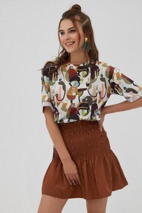 Pattaya Kadın Kahverengi Yırtmaçlı Oversize Kısa Kollu T-Shirt 1
