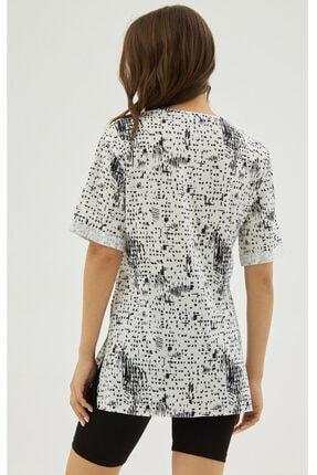 Pattaya Kadın Beyaz Yırtmaçlı Oversize Kısa Kollu Tişört P21s201-2121 3