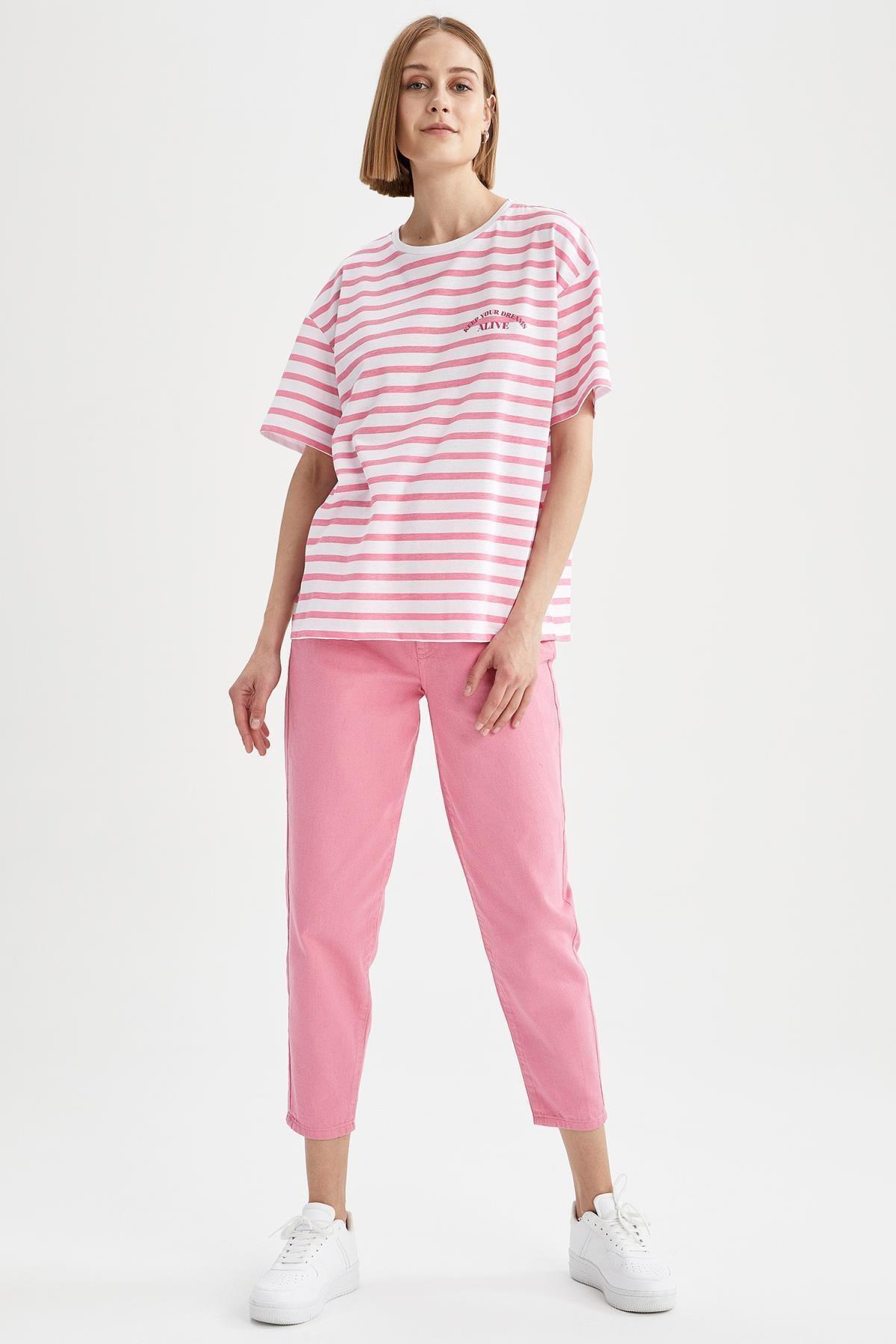 Kadın Çizgili Oversize Fit Kısa Kollu Tişört