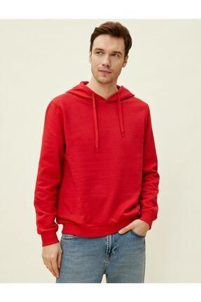 Koton Erkek Kırmızı Kapüşonlu Pamuklu Uzun Kollu Basic Sweatshirt 1yam71750lk 1