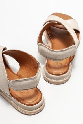 Elle Kadın Bej Deri Düz Sandalet 3