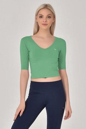 bilcee Kadın Yeşil Yoga T-shırt Gs-8105 0