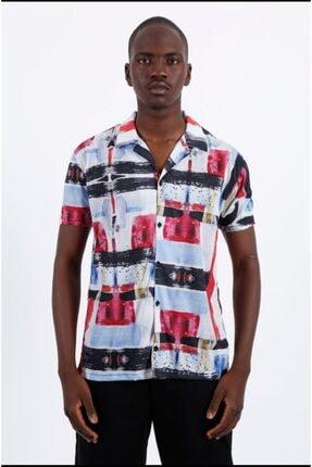 Flame Store Erkek Renkli Baskılı Hawai Stil Gömlek 0