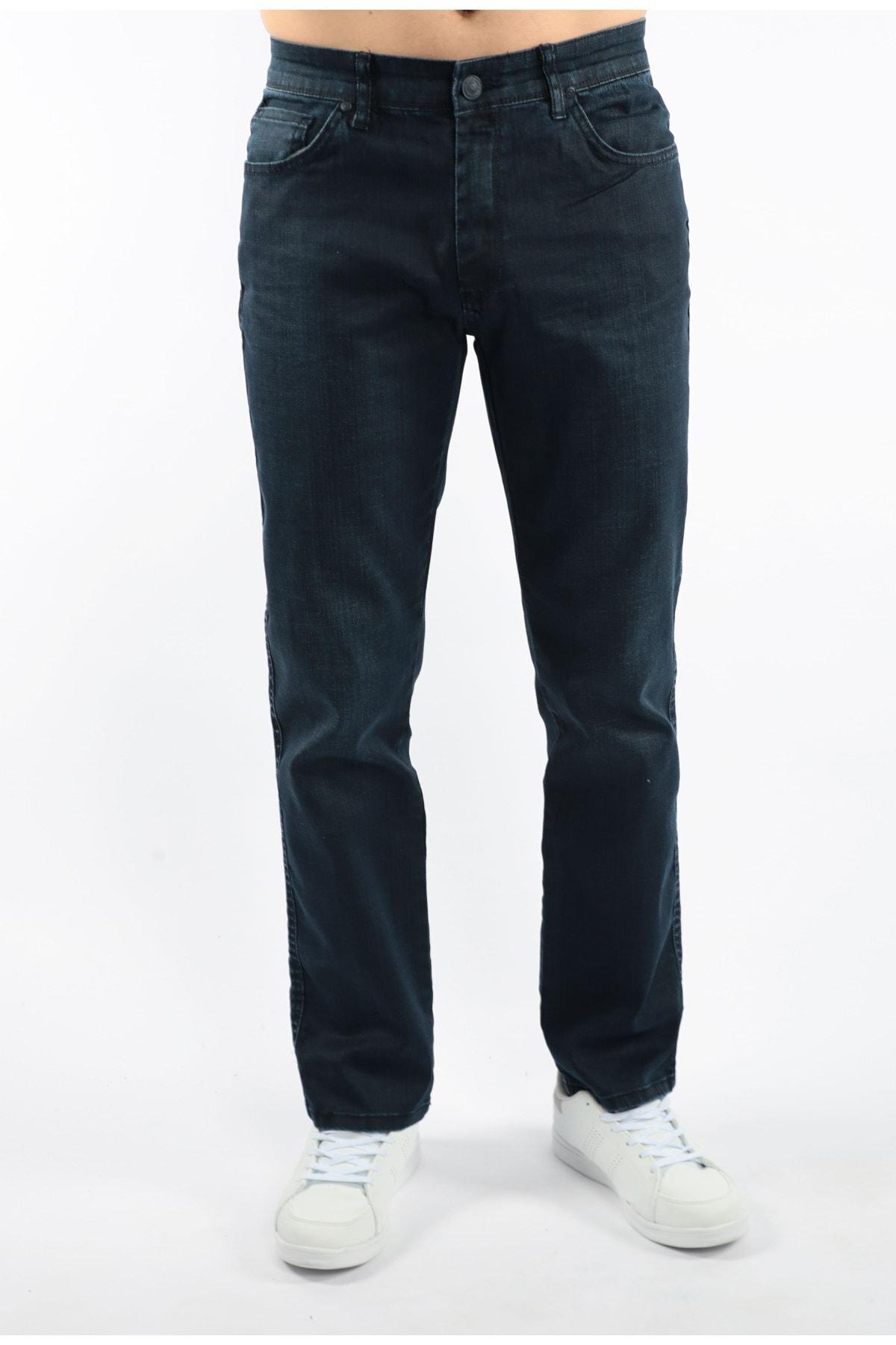 Erkek Lacivert Modern Kesim Fermuarlı Kot Pantolon F103