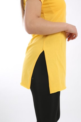 SARAMODEX Kadın Sarı V Yaka Düz Renk Basic Tişört 1
