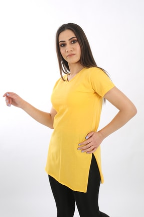 SARAMODEX Kadın Sarı V Yaka Düz Renk Basic Tişört 4