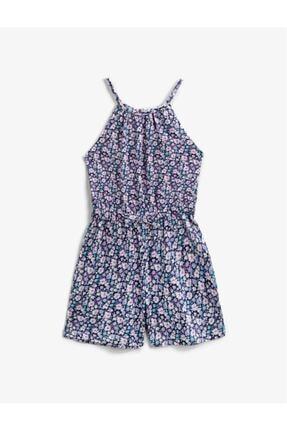 Koton Kız Çocuk Lacivert Çiçekli Askılı Tulum 0