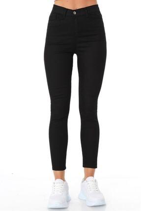 ZİNCiRMODA Kadın Siyah Beş Cepli Yüksek Bel Pantolon 0