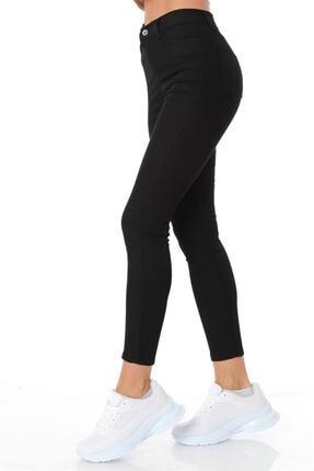 ZİNCiRMODA Kadın Siyah Beş Cepli Yüksek Bel Pantolon 3